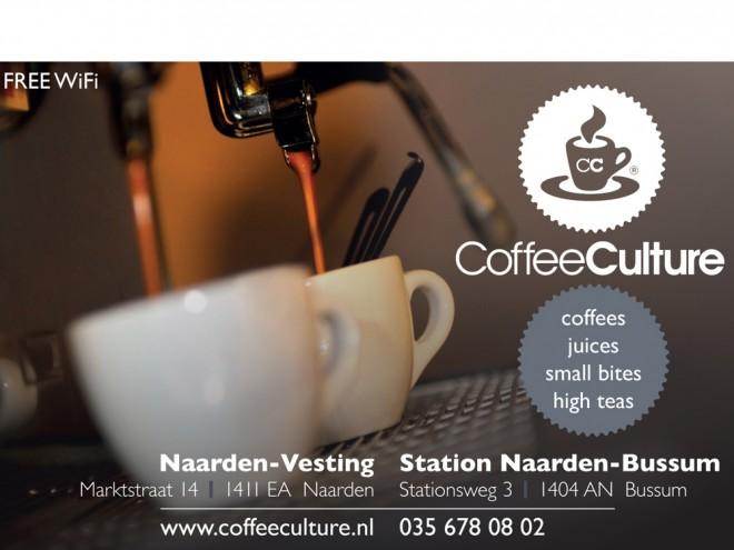 Advertentie voor Coffee Culture in Naarden en Bussum.