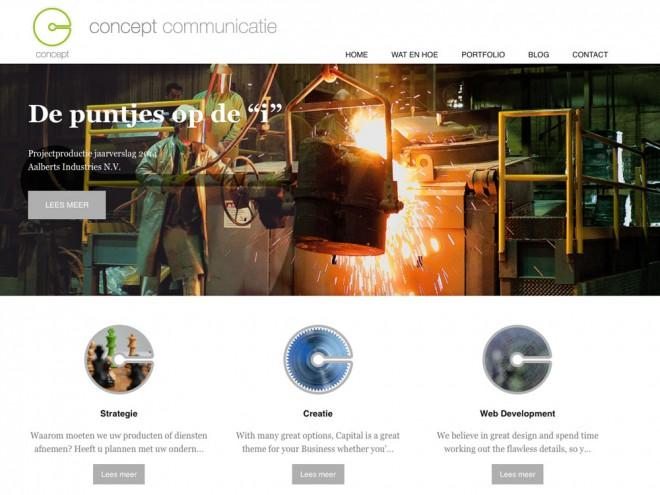 Screendump van de nieuwe site van Concept Communicatie, gebouwd in WordPress.