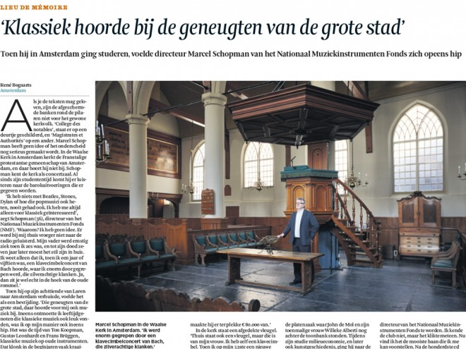 Deel van het artikel over Marcel Schopman, directeur van het Nationaal Muziekinstrumentenfonds, in Het Financiële Dagblad, zaterdag editie.