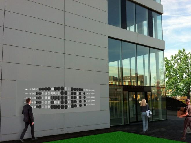 Artist impression van de gevelbelettering van RAM in Utrecht.