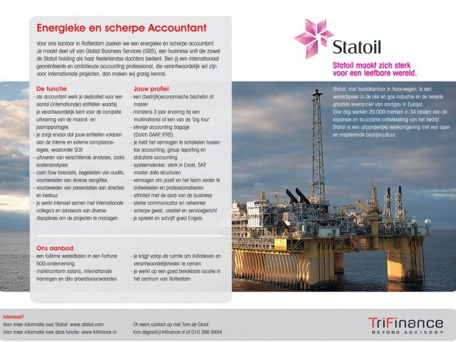 Personeelsadvertentie voor Statoil, in opdracht van TriFinance.