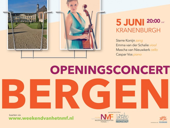 Deel van een affiche van het Weekend van het NMF, voor het openingsconcert in Bergen.